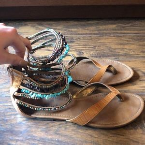 Strappy Beaded Ankle Sandals
